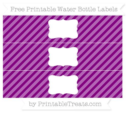 Free Purple Diagonal Striped Water Bottle Labels