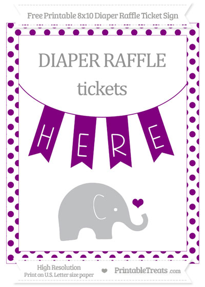 Free Purple Dotted Baby Elephant 8x10 Diaper Raffle Ticket Sign
