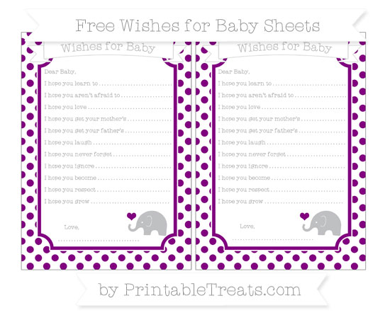 Free Purple Dotted Pattern Baby Elephant Wishes for Baby Sheets