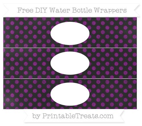 Free Purple Dotted Pattern Chalk Style DIY Water Bottle Wrappers