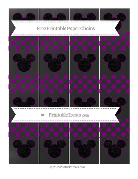 Free Purple Dotted Pattern Chalk Style Mickey Mouse Paper Chains