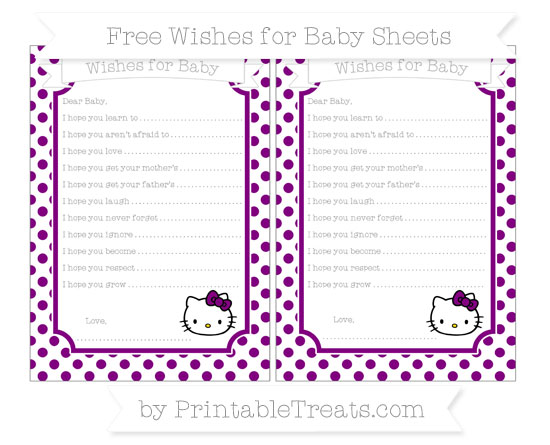 Free Purple Dotted Pattern Hello Kitty Wishes for Baby Sheets