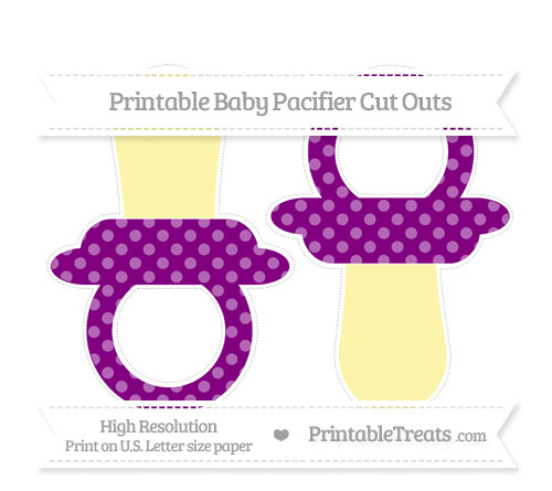 Free Purple Dotted Pattern Large Baby Pacifier Cut Outs
