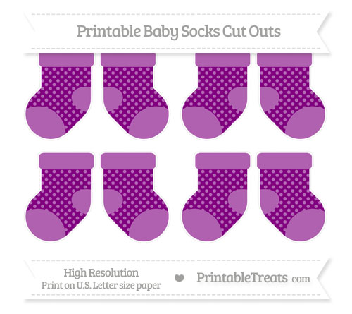 Free Purple Dotted Pattern Small Baby Socks Cut Outs