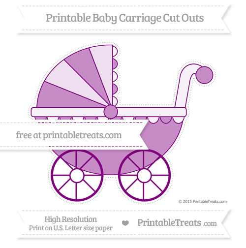 Free Purple Extra Large Baby Carriage Cut Outs