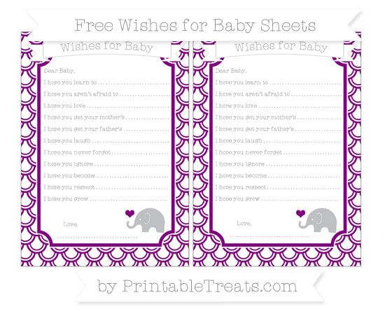Free Purple Fish Scale Pattern Baby Elephant Wishes for Baby Sheets