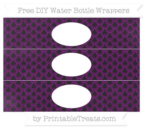 Free Purple Fish Scale Pattern Chalk Style DIY Water Bottle Wrappers