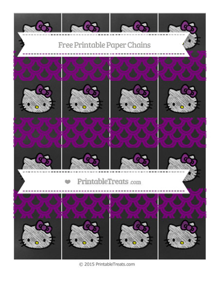 Free Purple Fish Scale Pattern Chalk Style Hello Kitty Paper Chains