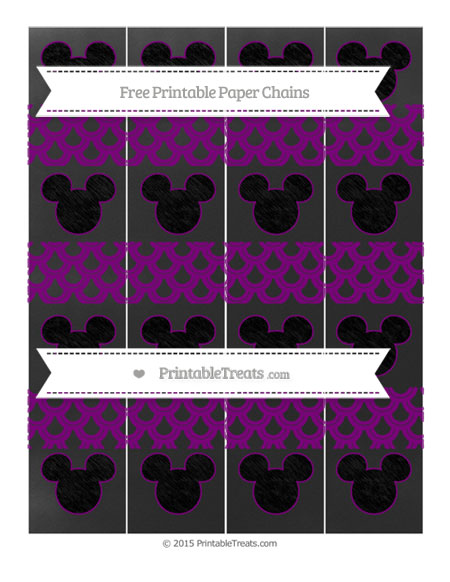 Free Purple Fish Scale Pattern Chalk Style Mickey Mouse Paper Chains