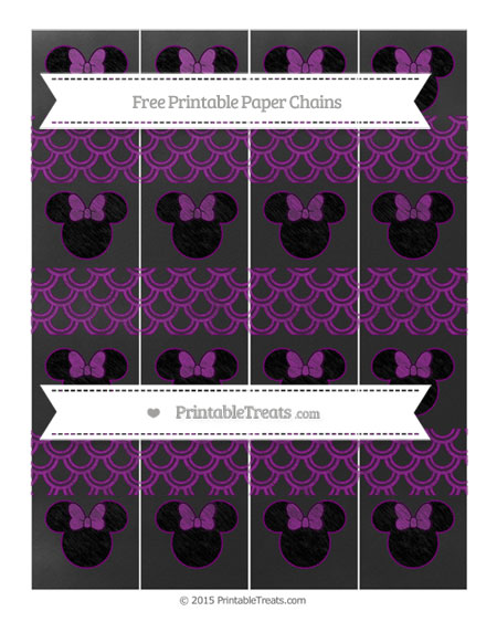 Free Purple Fish Scale Pattern Chalk Style Minnie Mouse Paper Chains