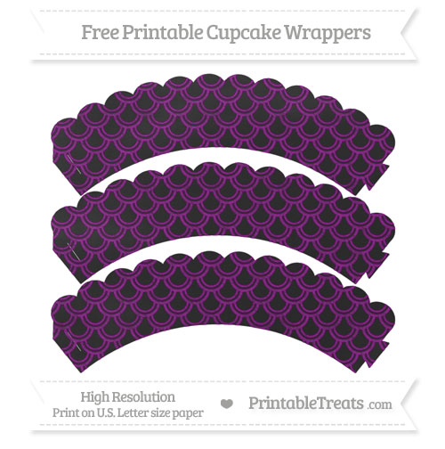 Free Purple Fish Scale Pattern Chalk Style Scalloped Cupcake Wrappers