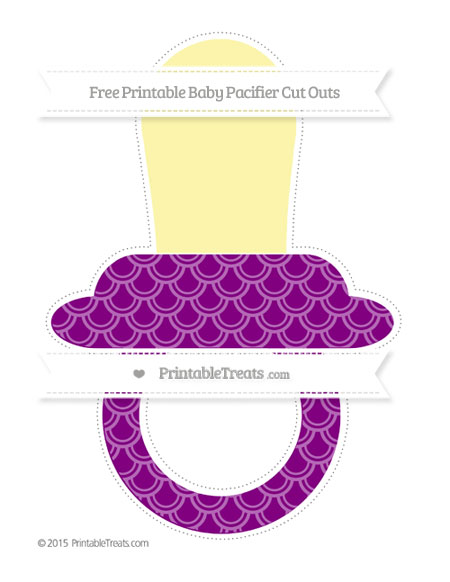 Free Purple Fish Scale Pattern Extra Large Baby Pacifier Cut Outs
