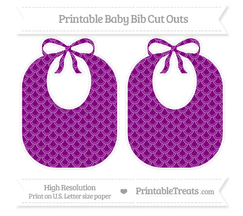 Free Purple Fish Scale Pattern Large Baby Bib Cut Outs