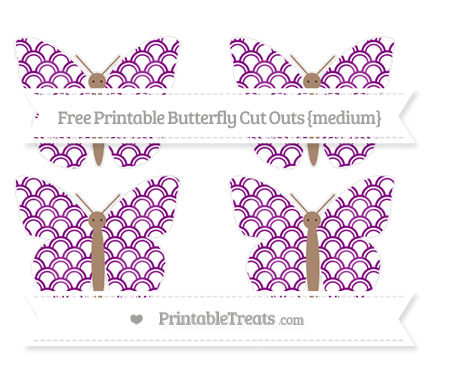 Free Purple Fish Scale Pattern Medium Butterfly Cut Outs