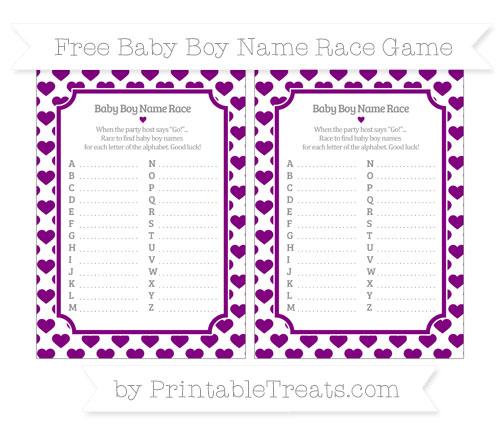 Free Purple Heart Pattern Baby Boy Name Race Game