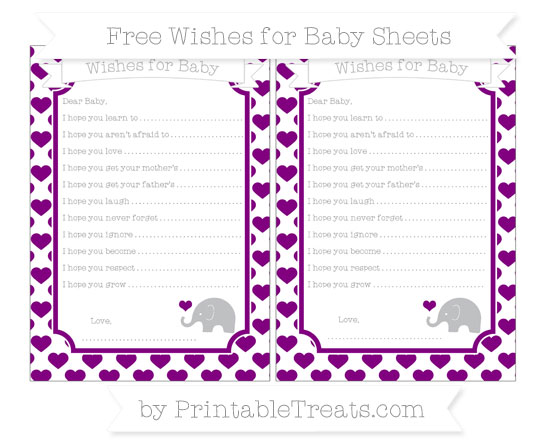 Free Purple Heart Pattern Baby Elephant Wishes for Baby Sheets