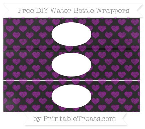 Free Purple Heart Pattern Chalk Style DIY Water Bottle Wrappers