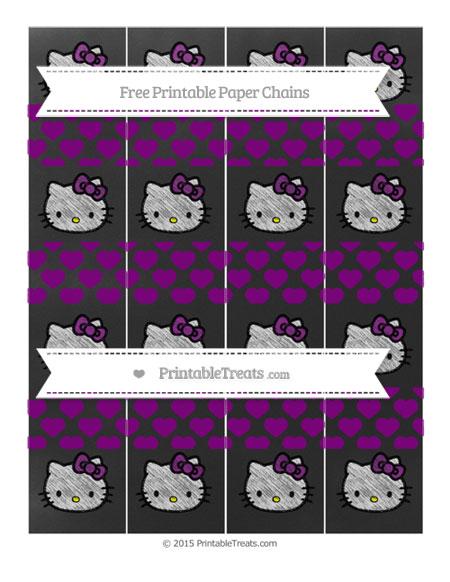 Free Purple Heart Pattern Chalk Style Hello Kitty Paper Chains