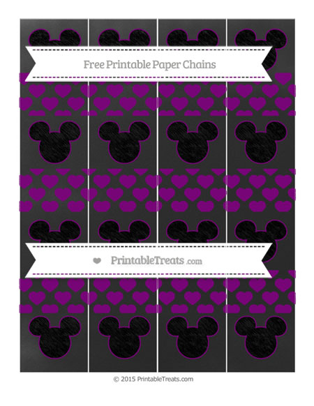 Free Purple Heart Pattern Chalk Style Mickey Mouse Paper Chains