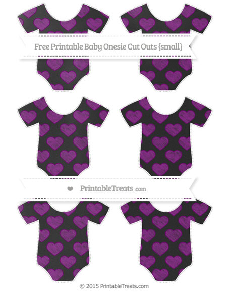 Free Purple Heart Pattern Chalk Style Small Baby Onesie Cut Outs