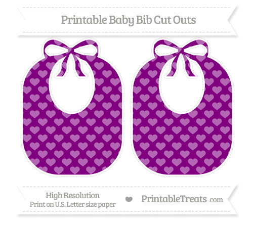 Free Purple Heart Pattern Large Baby Bib Cut Outs