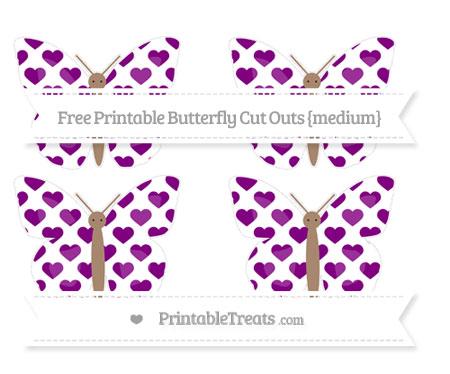 Free Purple Heart Pattern Medium Butterfly Cut Outs