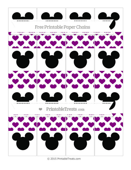 Free Purple Heart Pattern Mickey Mouse Paper Chains