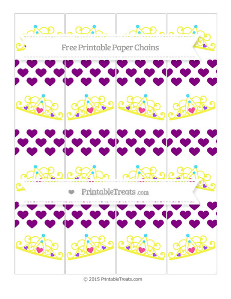 Free Purple Heart Pattern Princess Tiara Paper Chains