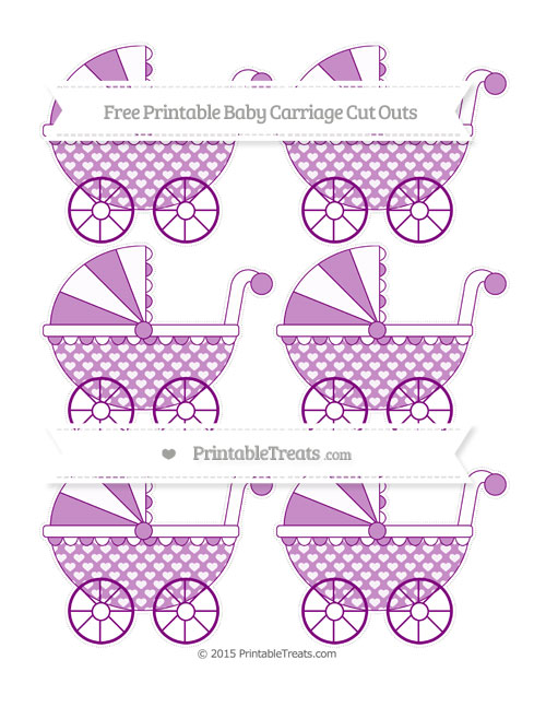 Free Purple Heart Pattern Small Baby Carriage Cut Outs