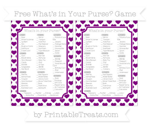 Free Purple Heart Pattern What's in Your Purse Baby Shower Game