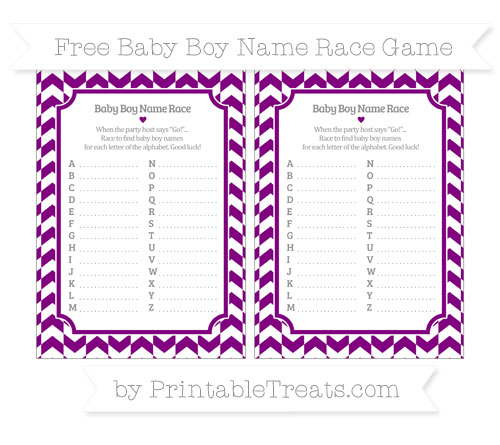 Free Purple Herringbone Pattern Baby Boy Name Race Game