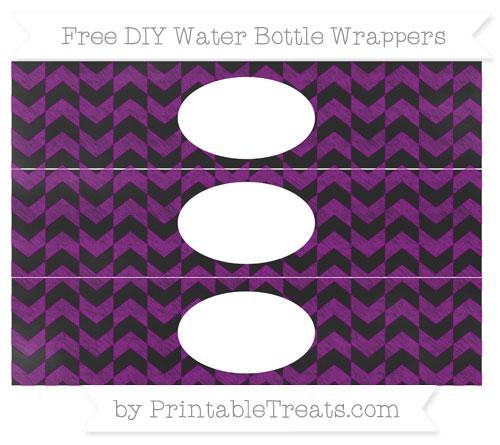 Free Purple Herringbone Pattern Chalk Style DIY Water Bottle Wrappers