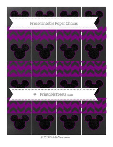 Free Purple Herringbone Pattern Chalk Style Mickey Mouse Paper Chains