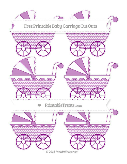 Free Purple Herringbone Pattern Small Baby Carriage Cut Outs