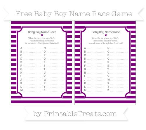 Free Purple Horizontal Striped Baby Boy Name Race Game