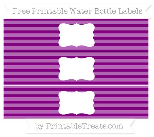 Free Purple Horizontal Striped Water Bottle Labels