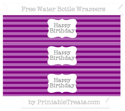 Free Purple Horizontal Striped Happy Birhtday Water Bottle Wrappers
