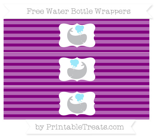 Free Purple Horizontal Striped Whale Water Bottle Wrappers