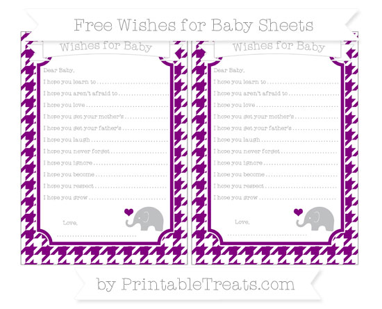Free Purple Houndstooth Pattern Baby Elephant Wishes for Baby Sheets