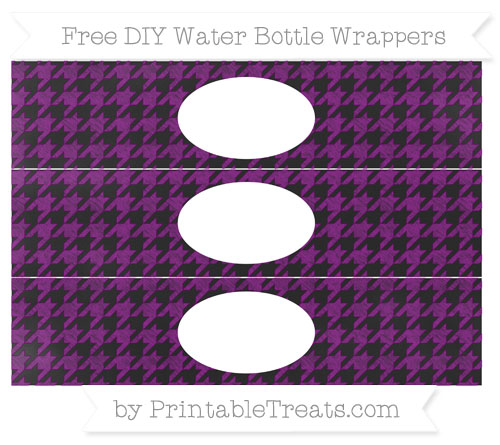 Free Purple Houndstooth Pattern Chalk Style DIY Water Bottle Wrappers