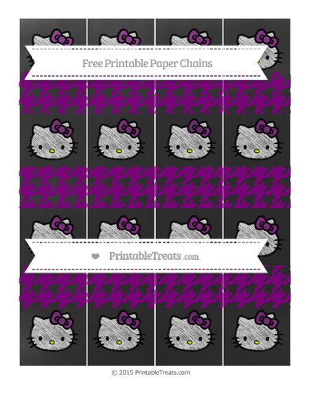 Free Purple Houndstooth Pattern Chalk Style Hello Kitty Paper Chains
