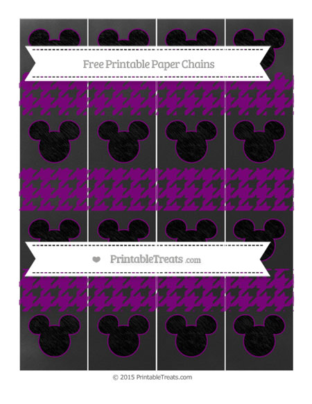 Free Purple Houndstooth Pattern Chalk Style Mickey Mouse Paper Chains