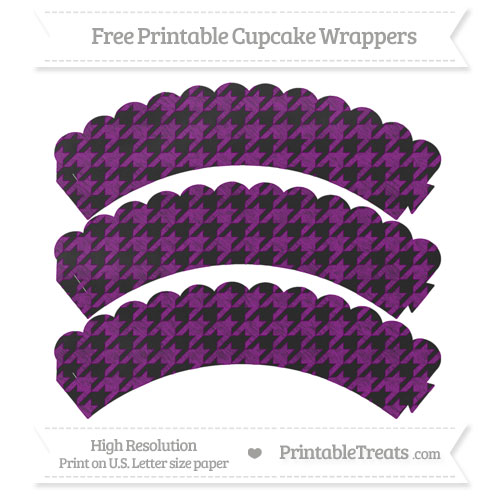 Free Purple Houndstooth Pattern Chalk Style Scalloped Cupcake Wrappers