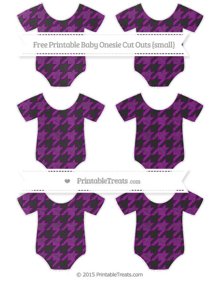Free Purple Houndstooth Pattern Chalk Style Small Baby Onesie Cut Outs