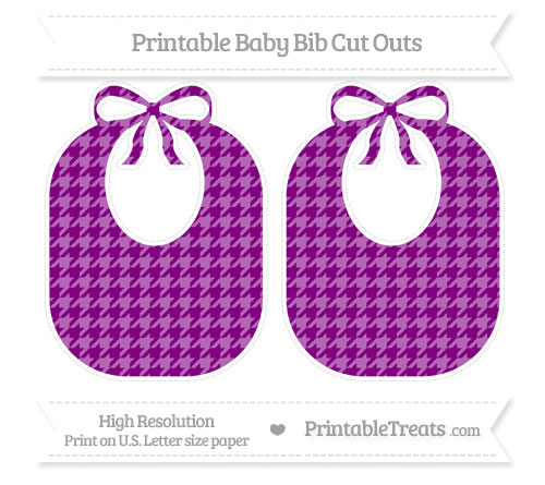 Free Purple Houndstooth Pattern Large Baby Bib Cut Outs