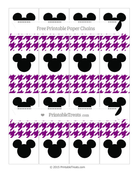 Free Purple Houndstooth Pattern Mickey Mouse Paper Chains