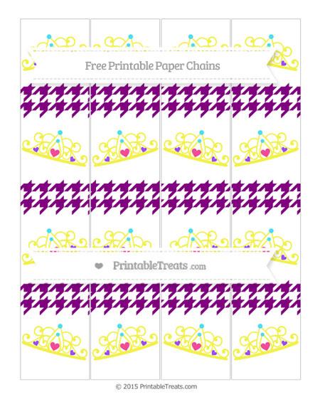 Free Purple Houndstooth Pattern Princess Tiara Paper Chains