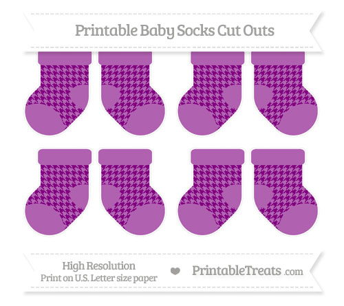 Free Purple Houndstooth Pattern Small Baby Socks Cut Outs