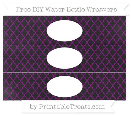Free Purple Moroccan Tile Chalk Style DIY Water Bottle Wrappers