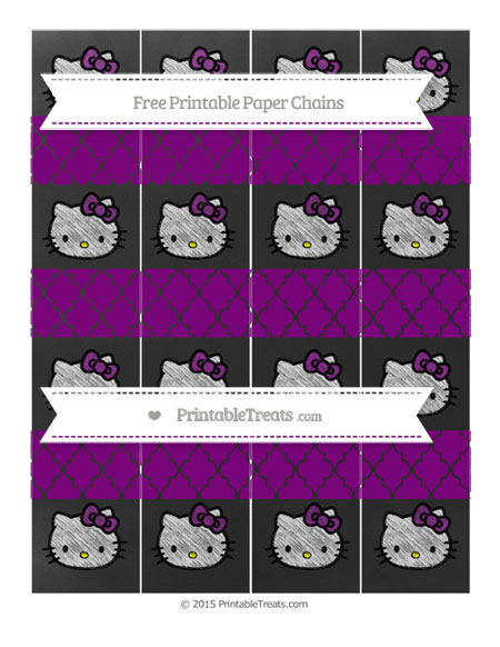 Free Purple Moroccan Tile Chalk Style Hello Kitty Paper Chains
